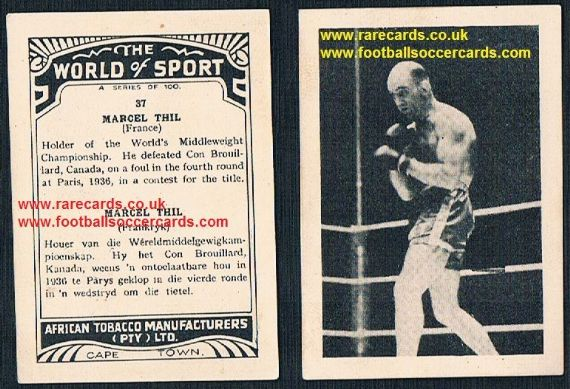 1930's South African Tobacco World of Sport Marcel Thil World champ boxer